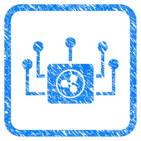Ripple Masternode Links rubber seal stamp imitation. Icon vector symbol with grunge design and dirty texture in rounded squared frame. Scratched blue stamp imitation on a white background.