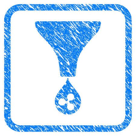 Ripple Funnel rubber seal stamp watermark. Icon vector symbol with grunge design and corrosion texture in rounded frame. Scratched blue sign on a white background.