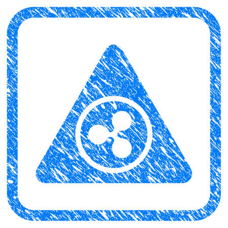Ripple Hazard rubber seal stamp watermark. Icon vector symbol with grunge design and unclean texture in rounded square frame. Scratched blue stamp imitation on a white background. Illustration