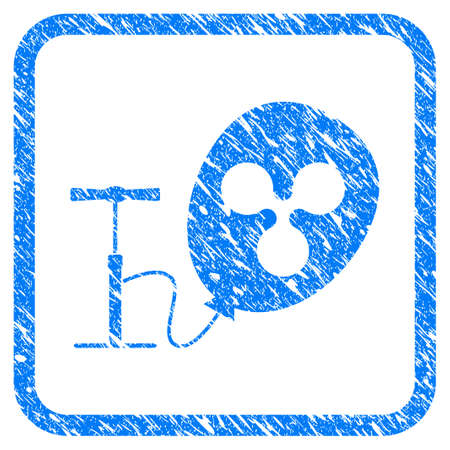 Pump Ripple Balloon rubber seal stamp watermark. Icon vector symbol with grunge design and dust texture inside rounded square. Scratched blue sign on a white background.