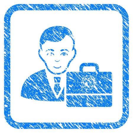 Qtum Accounter rubber seal stamp imitation. Icon vector symbol with grunge design and unclean texture inside rounded frame. Scratched blue emblem on a white background. Illustration