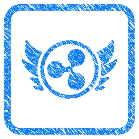 Ripple Angel Investment rubber seal stamp watermark. Icon vector symbol with grunge design and corrosion texture inside rounded frame. Scratched blue sticker on a white background.