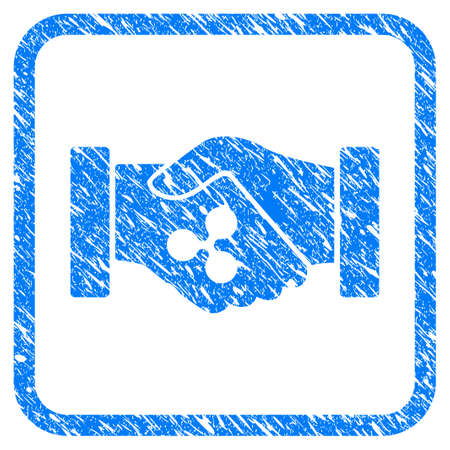 Ripple Contract Hands rubber seal stamp watermark. Icon vector symbol with grunge design and dust texture in rounded squared frame. Scratched blue sign on a white background. Vectores