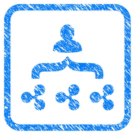 Ripple Collector rubber seal stamp imitation. Icon vector symbol with grunge design and dust texture in rounded frame. Scratched blue stamp imitation on a white background. Illustration