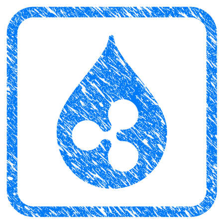 Ripple Drop rubber seal stamp imitation. Icon vector symbol with grunge design and dust texture in rounded rectangle. Scratched blue sign on a white background.