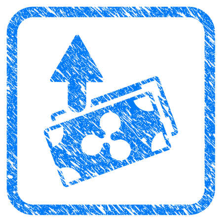 Ripple Expences Banknotes rubber seal stamp watermark. Icon vector symbol with grunge design and dust texture inside rounded squared frame. Scratched blue emblem on a white background.