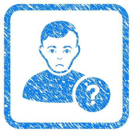 User Question rubber seal stamp imitation. Icon vector symbol with grunge design and dirty texture in rounded square. Scratched blue emblem on a white background. Illustration