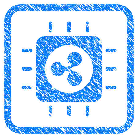 Ripple Processor Chip rubber seal stamp imitation. Icon vector symbol with grunge design and corrosion texture in rounded square frame. Scratched blue stamp imitation on a white background.
