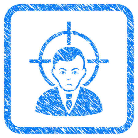 Victim Businessman rubber seal stamp watermark. Icon vector symbol with grunge design and dirty texture in rounded frame. Scratched blue stamp imitation on a white background. Ilustração