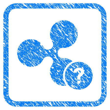 Ripple Unknown Status rubber seal stamp watermark. Icon vector symbol with grunge design and unclean texture in rounded squared frame. Scratched blue sign on a white background.