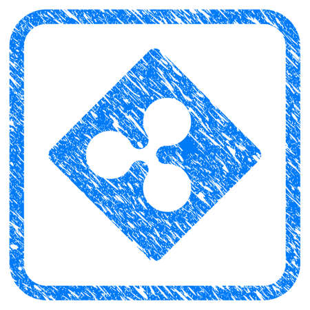 Ripple Rhombus rubber seal stamp imitation. Icon vector symbol with grunge design and unclean texture inside rounded frame. Scratched blue stamp imitation on a white background. Illustration