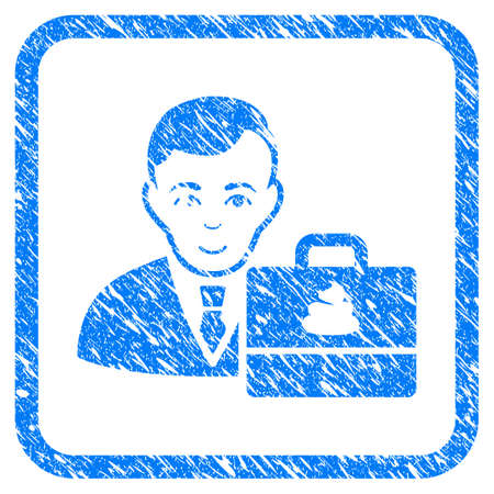 Shit Accounter rubber seal stamp imitation. Icon vector symbol with grunge design and unclean texture inside rounded frame. Scratched blue stamp imitation on a white background.