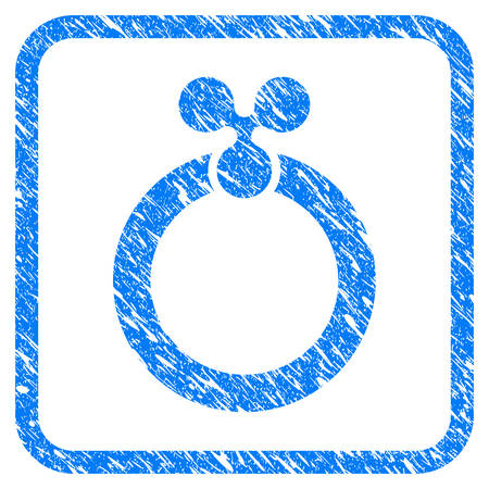 Ripple Ring rubber seal stamp imitation. Icon vector symbol with grunge design and unclean texture inside rounded square frame. Scratched blue stamp imitation on a white background. Ilustrace