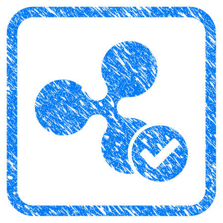 Ripple Valid rubber seal stamp imitation. Icon vector symbol with grunge design and dirty texture inside rounded rectangle. Scratched blue sticker on a white background.