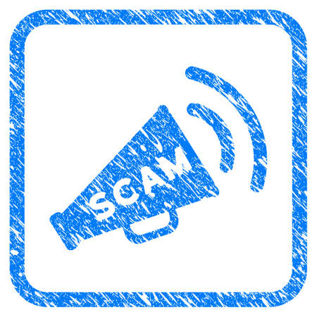 Scam Alert Megaphone rubber seal stamp imitation. Icon vector symbol with grunge design and corrosion texture inside rounded squared frame. Scratched blue stamp imitation on a white background.