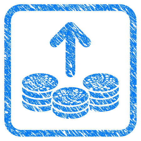 Spend Iota Coins rubber seal stamp watermark. Icon vector symbol with grunge design and dust texture in rounded square frame. Scratched blue emblem on a white background.