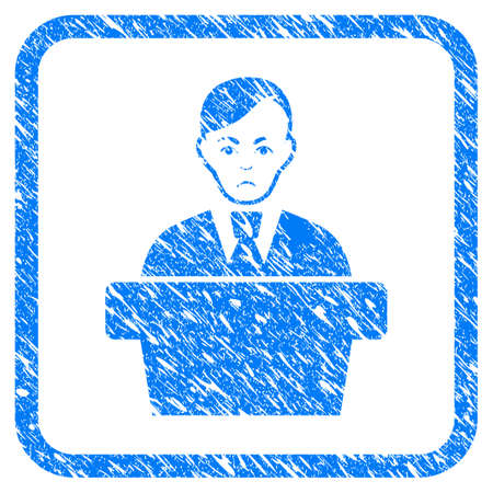 Speaker Gentleman rubber seal stamp watermark. Icon vector symbol with grunge design and dust texture in rounded square frame. Scratched blue stamp imitation on a white background.