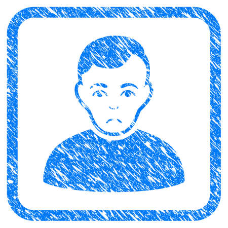 User rubber seal stamp imitation. Icon vector symbol with grunge design and unclean texture inside rounded square frame. Scratched blue sign on a white background.