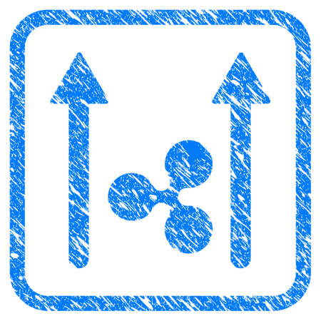 Ripple Send Arrows rubber seal stamp imitation. Icon vector symbol with grunge design and corrosion texture in rounded frame. Scratched blue stamp imitation on a white background.