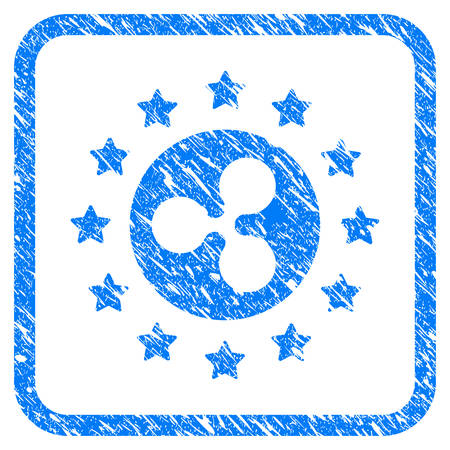 Starred Ripple Coin rubber seal stamp watermark. Icon vector symbol with grunge design and unclean texture inside rounded rectangle. Scratched blue sticker on a white background.
