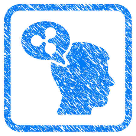 Ripple Thinking Balloon rubber seal stamp watermark. Icon vector symbol with grunge design and dirty texture in rounded square frame. Scratched blue sticker on a white background.