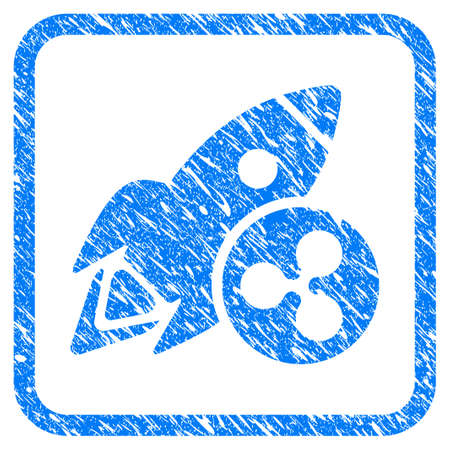 Ripple Rocket rubber seal stamp watermark. Icon vector symbol with grunge design and unclean texture in rounded square frame. Scratched blue sign on a white background.
