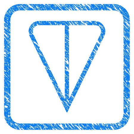 Ton Currency rubber seal stamp watermark. Icon vector symbol with grunge design and unclean texture inside rounded frame. Scratched blue sign on a white background.