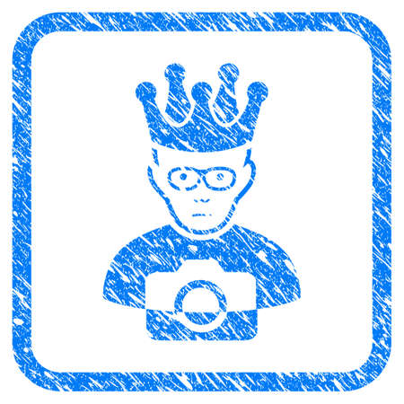 Thai King rubber seal stamp watermark. Icon vector symbol with grunge design and dust texture in rounded square frame. Scratched blue stamp imitation on a white background. Stock Illustratie