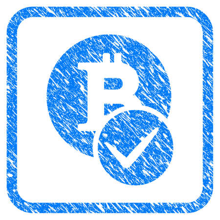 Valid Bitcoin rubber seal stamp watermark. Icon vector symbol with grunge design and unclean texture inside rounded squared frame. Scratched blue sticker on a white background.