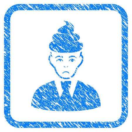 Shit Guy rubber seal stamp watermark. Icon vector symbol with grunge design and dirty texture in rounded squared frame. Scratched blue sticker on a white background.