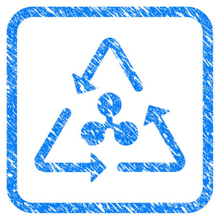Ripple Recycling rubber seal stamp imitation. Icon vector symbol with grunge design and unclean texture inside rounded square. Scratched blue sticker on a white background.