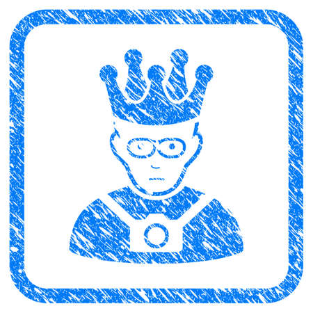 Thailand King rubber seal stamp imitation. Icon vector symbol with grunge design and corrosion texture in rounded frame. Scratched blue sign on a white background.