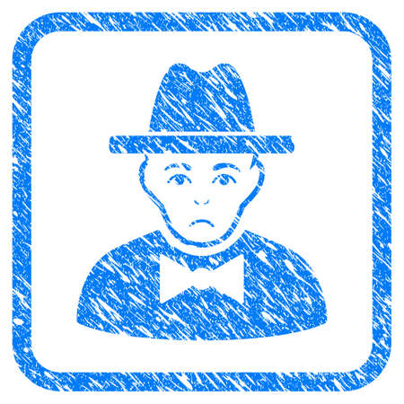 Spy rubber seal stamp imitation. Icon vector symbol with grunge design and unclean texture inside rounded squared frame. Scratched blue sticker on a white background.