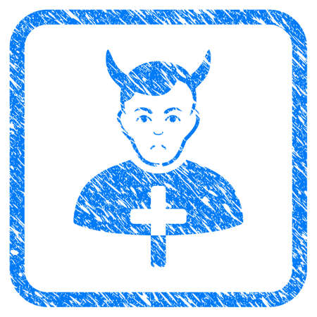 Satan Priest rubber seal stamp imitation. Icon vector symbol with grunge design and corrosion texture inside rounded rectangle. Scratched blue stamp imitation on a white background.