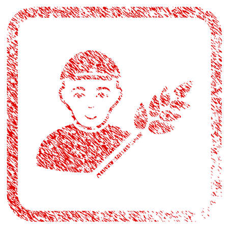 Rice Farmer rubber seal watermark. Icon raster symbol with scratched design and dirty texture in rounded square. Scratched red sticker. Man face has joy sentiment.