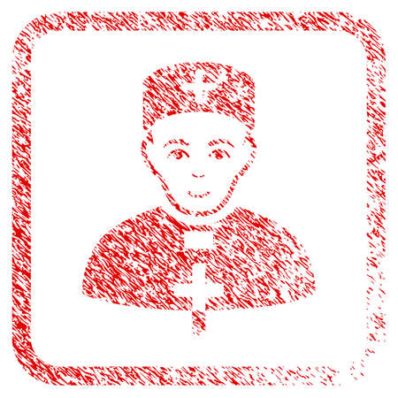 Monastic Doctor rubber seal imitation. Icon raster symbol with distress design and unclean texture inside rounded squared frame. Scratched red stamp imitation. Dude face has happy mood.
