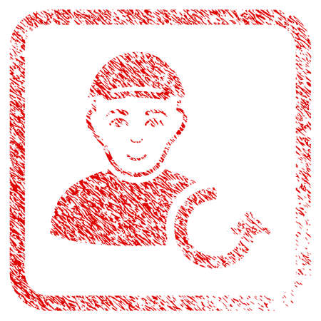 Refresh Man rubber seal stamp watermark. Icon raster symbol with grunge design and unclean texture in rounded rectangle. Scratched red stamp imitation. Person face has smiling expression.