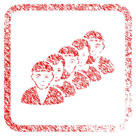 People Queue rubber stamp watermark. Icon raster symbol with unclean design and unclean texture inside rounded squared frame. Scratched red sticker. Boy face has happiness mood.