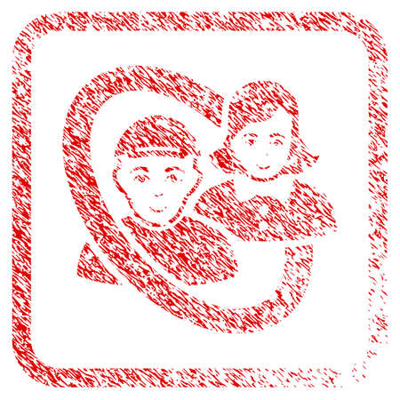 Ringed People Pair rubber seal stamp watermark. Icon raster symbol with unclean design and corrosion texture inside rounded rectangle. Scratched red emblem. Male face has cheerful emotion. 版權商用圖片