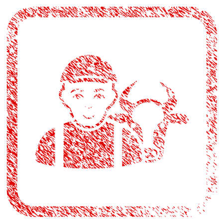 Cow Farmer rubber seal stamp watermark. Icon raster symbol with unclean design and unclean texture in rounded squared frame. Scratched red sign. Male face has enjoy emotions.