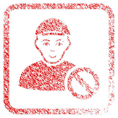 Forbidden Man rubber seal stamp imitation. Icon raster symbol with unclean design and corrosion texture in rounded rectangle. Scratched red sticker. Boy face has cheerful expression.