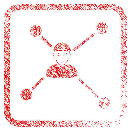 Person Links rubber seal watermark. Icon raster symbol with grunge design and unclean texture in rounded squared frame. Scratched red stamp imitation. Male face has joy mood.