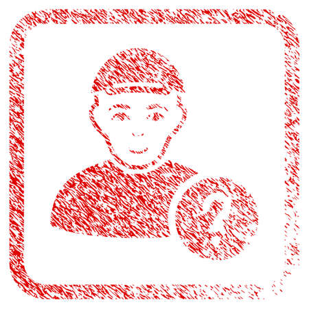 User Query rubber seal imitation. Icon raster symbol with distress design and dirty texture inside rounded square. Scratched red emblem. Person face has enjoy sentiment. Stock Photo
