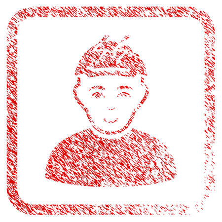 Headache Person rubber seal watermark. Icon raster symbol with unclean design and dirty texture inside rounded rectangle. Scratched red emblem. Male face has enjoy sentiment. Stock Photo