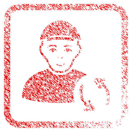 Refresh User rubber stamp imitation. Icon raster symbol with scratched design and corrosion texture in rounded frame. Scratched red stamp imitation. Human face has glad sentiment.