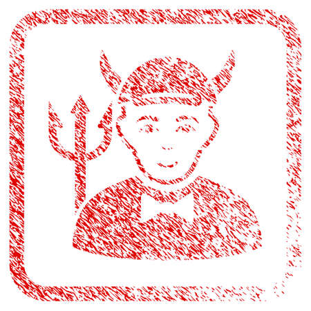 Devil rubber seal watermark. Icon raster symbol with unclean design and dirty texture in rounded square. Scratched red stamp imitation. Boy face has happy sentiment. a boy from devil with a cap.