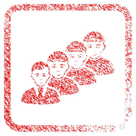 Team Manager rubber stamp watermark. Icon raster symbol with unclean design and unclean texture inside rounded squared frame. Scratched red sign. Dude face has glad feeling.