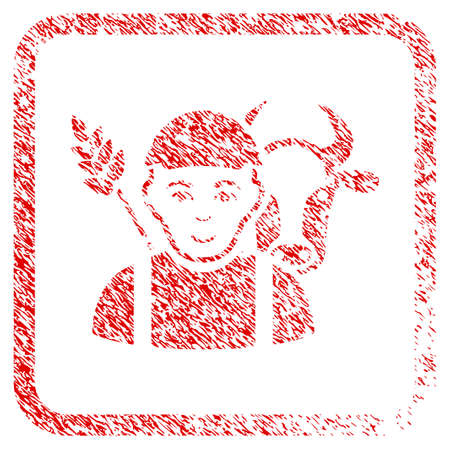 Farmer rubber stamp watermark. Icon raster symbol with unclean design and corrosion texture inside rounded square frame. Scratched red sticker. Dude face has positive feeling.