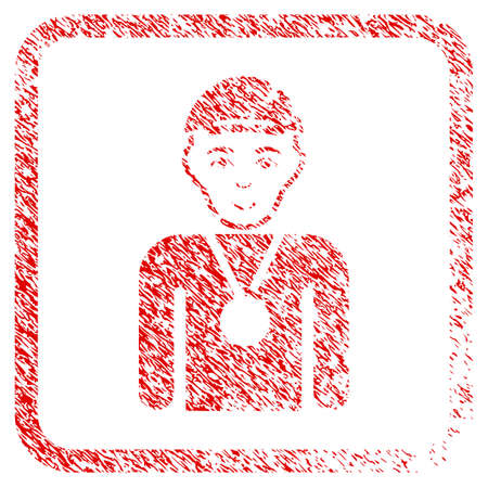 Champion rubber stamp imitation. Icon raster symbol with textured design and dirty texture in rounded square frame. Scratched red emblem. Person face has happy mood. a person from champion with a cap. Stock Photo