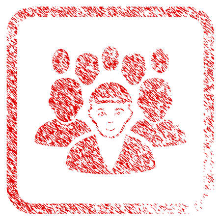 Staff Leader rubber seal imitation. Icon raster symbol with scratched design and dirty texture in rounded square. Scratched red sign. Dude face has cheerful emotions. Stock Photo